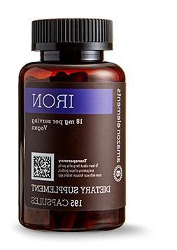 Amazon Elements Iron 18mg, Vegan, 195 Capsules, 6 month supp