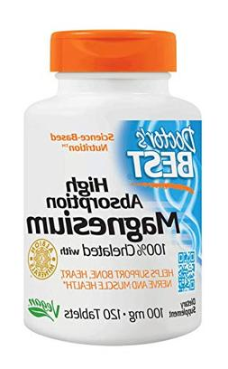 Doctor's Best High Absorption Magnesium 100 mg Tabs, 120 ct