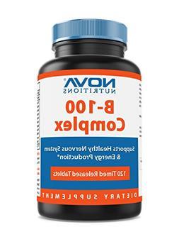 Nova Nutritions B-100 Vitamin B Complex 120 Time Released Ta