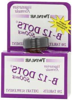 Twinlab B-12 Dots Vitamin B-12, 500mcg, 250 Tablets
