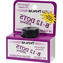 2 Packs of Twinlab B-12 Sublingual Dots - 500 Mcg - 100 Tabl