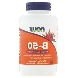 Now Foods B-50 Vitamin B Complex, 250 Veg Caps Energy, Nervo
