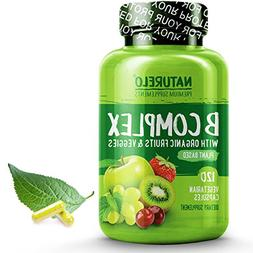 NATURELO B Complex - Whole Food - with Vitamin B6, Folate, B