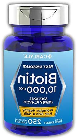Carlyle Biotin 10000mcg 250 Fast Dissolve Tablets   Maximum