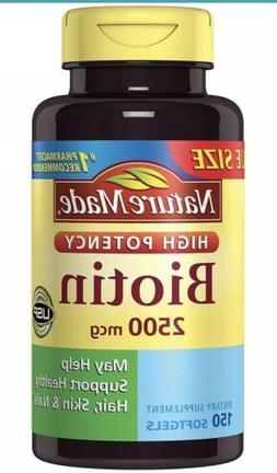 Biotin Softgels 2500 Mgc- Nature Made High Potency - 150 Cou