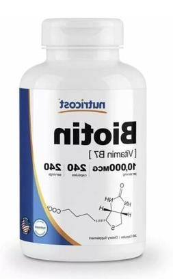 Nutricost Biotin  10,000mcg , 240Capsules