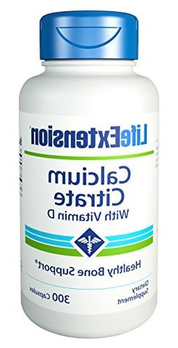 Life Extension Calcium Citrate with Vitamin D, 300 Capsules