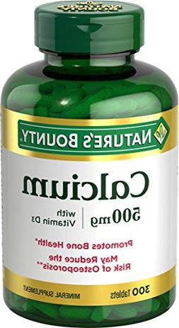 Nature's Bounty Calcium 500 mg w/Vitamin D, 300 Tablets