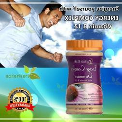 Complex Vitamin B-12 Gummies Herbal Blend Fatigue Energy Moo