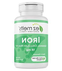 EZ Melts Iron, 18 mg Carbonyl Elemental Iron, Fast Melting T
