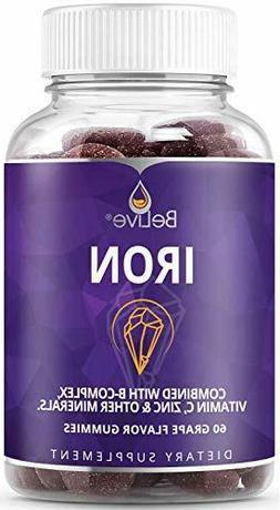Iron Gummies with Vitamin C, Biotin, Zinc, Vitamins B Comple