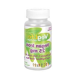 VegLife Vegan Iron 25 mg | Plus Vitamin C, Folic Acid, B-12