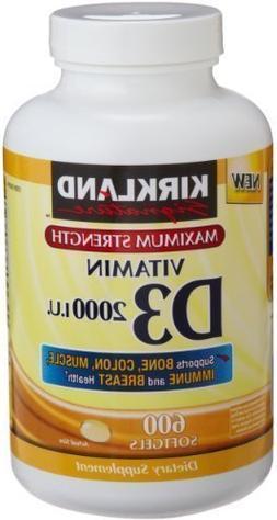 Kirkland Signature Maximum Strength Vitamin D3 2000 I.U. 600