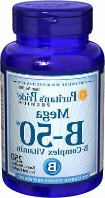 250 Caplet MEGA Vitamin B50 Complex Vegaterian B1 B2 B6 B12