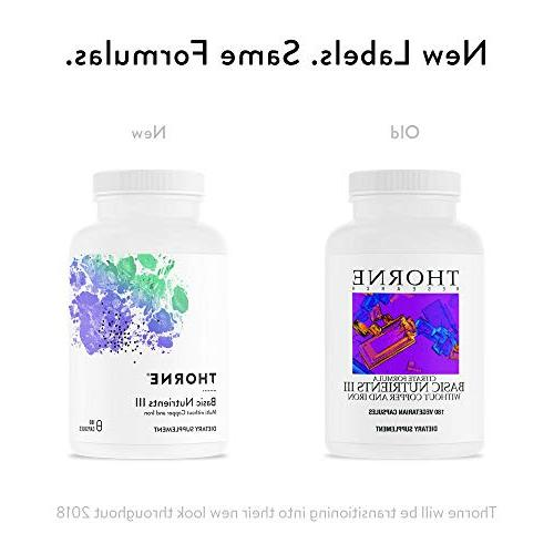 Thorne Basic Nutrients without and - Multiple Without Iron