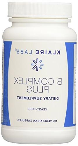 Klaire Labs B-Complex Plus 100 Vegetarian Capsules