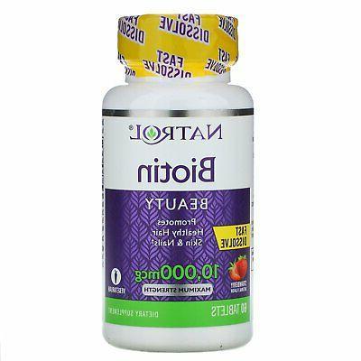 Natrol Biotin Fast Dissolve Tablets, Strawberry flavor, 10,0