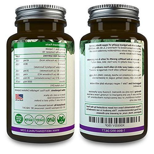BIOTIN 5000 mcg | 90 High Vegan Male & and with | B7 for Men & Hair Pills