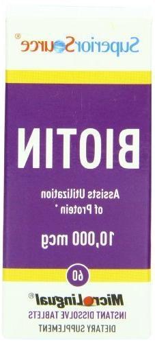 Superior Source Biotin, 10,000 mcg, 60 Count