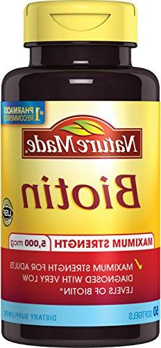 Nature Made Max Strength: Biotin  5000 mcg. Softgels 50 Ct