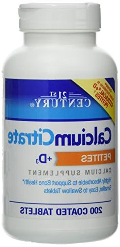 21st Century Calcium Citrate + D3 Petites Coated Tablets 200