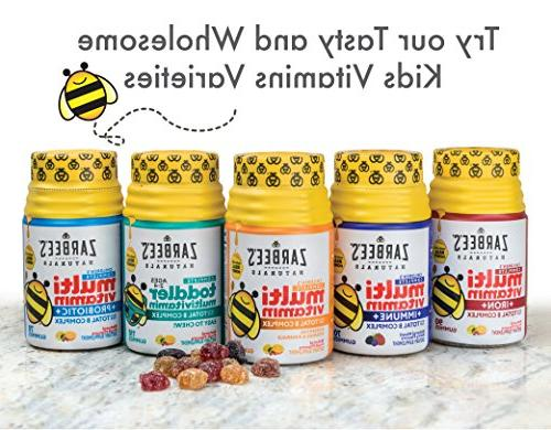 Zarbee's Multivitamin + Immune Gummies with Our Total Complex Sweetened with Honey, Natural Mixed Flavors, Gummies