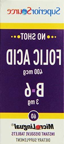 Superior Source Folic Acid/B6 Nutritional Supplements, 400 m
