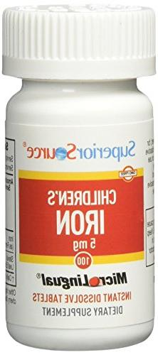 Superior Source Children's 5 mg Iron Tablets, 100 Count