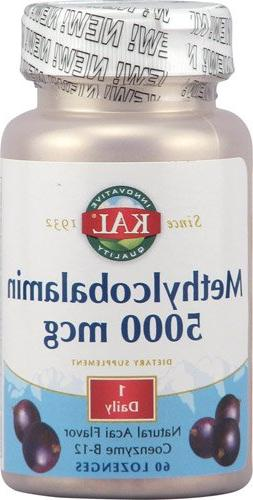 Kal Methylcobalamin Natural Acai -- 5000 mcg - 60 Lozenges -