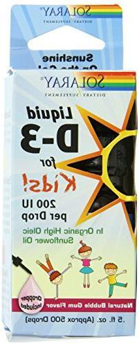 Solaray Liquid D-3 for Kids 200 IU Supplement, 0.5 Fluid Oun