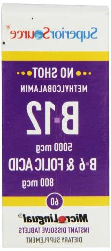 Superior Source No Shot Methylcobalamin Vitamin B12/B6/Folic