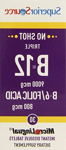 Superior Source No Shot Triple B12/B6/Folic Multivitamins, 9