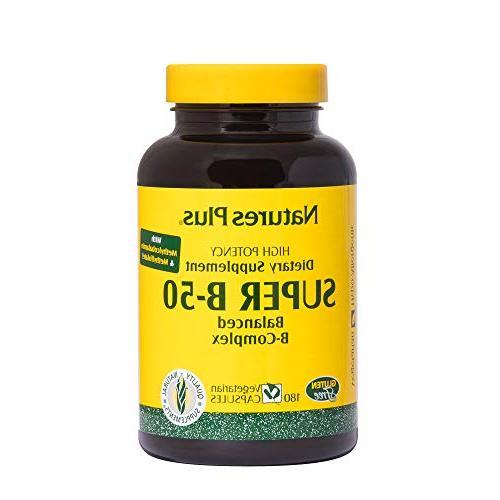 Natures Plus Super B50-180 Vegetarian Capsules - High Potenc