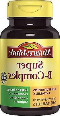Super B Complex + Vitamin C Tablets, 140 Count