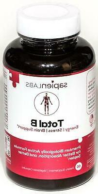 Sapien Labs Total B Complex Vitamins B12 Energy Stress Brain