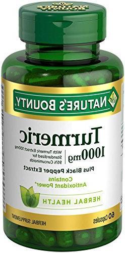 Nature's Bounty Turmeric Pills and Herbal Health Supplement,