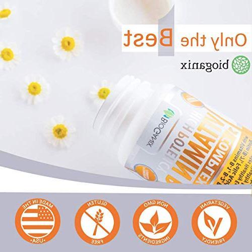 Vitamin B Complex Made | B6, B7 B9 Folic Vegan, Capsules Energy, Metabolism, Hair Eyes