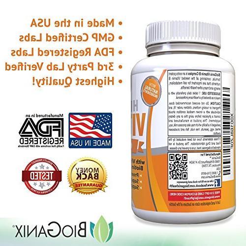 Vitamin B Supplement Made | B1, B3, B6, B7 Vegan, Capsules Metabolism, Eyes