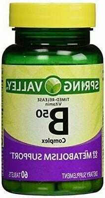 Spring Valley - Vitamin B-Complex B50, Timed Release, 60 Tab