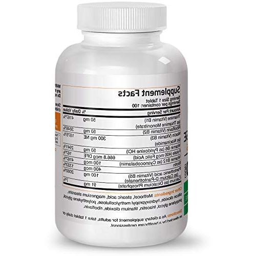 Bronson Vitamin Complex Sustained B Contains All Vitamins, Soy Free, 100 Tablets