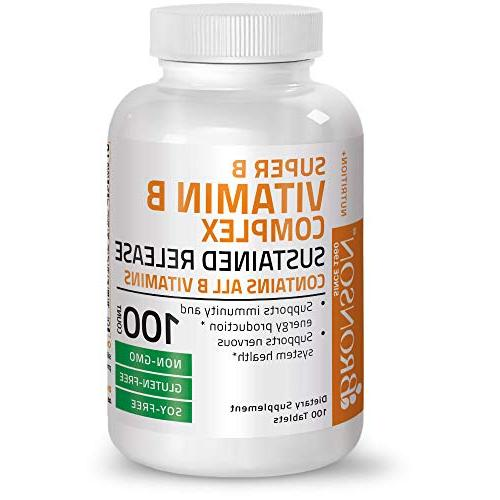 Bronson Vitamin Sustained Slow Release B Contains Vitamins, Free, Soy Free, 100 Tablets