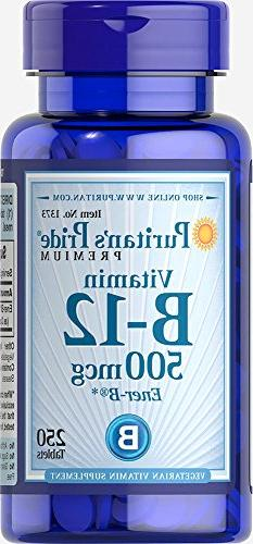 Puritan's Pride Vitamin B-12 500 mcg-250 Tablets