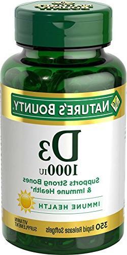 Nature's Bounty Vitamin D3 1000 IU Softgels, 350 Softgels