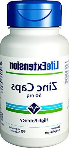 Life Extension Zinc Caps 50 Mg  90 Vegetarian Capsules