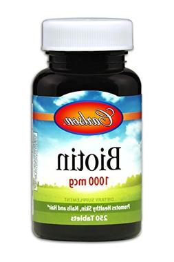 Carlson Biotin 1,000 mcg, Hair, Skin, Nails, 250 Tablets