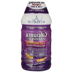 Wellesse Liquid Calcium & Vitamin D3 1000 IU/MG, 16 OZ
