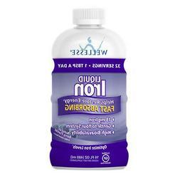 WELLESSE Liquid Mineral Supplement, Iron, Natural Berry,  16