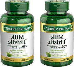Set of 2 Nature's Bounty Milk Thistle 250 mg, 200 Capsules b