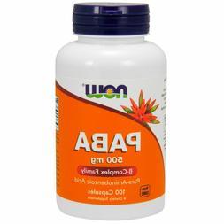 Now Foods PABA, B-Complex Vitamin 500mg, 100 caps HAIR, SKIN
