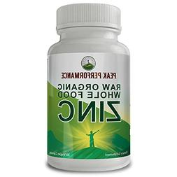Raw Organic Whole Food Zinc by Peak Performance with Vitamin